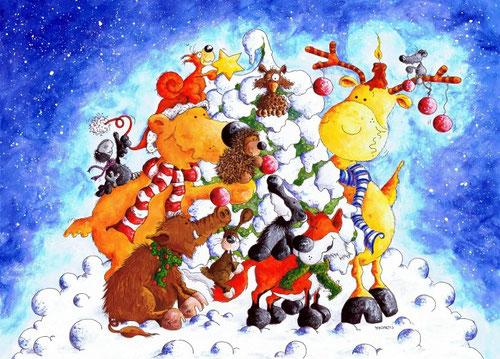 Waldtiere im Winter - Illustration für Weihnachtspostkarten