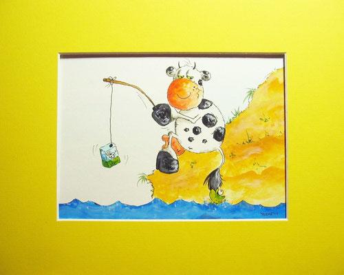 Anglerglück - Angler Kuh - Cartoonkuh