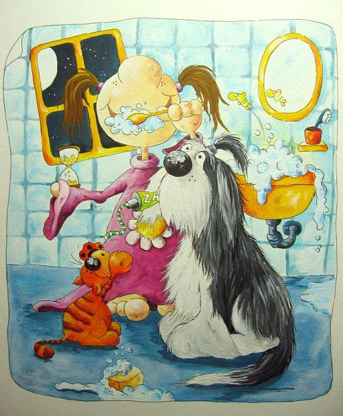 Lena putzt sich jeden Abend die Zähne - Katerchen und Beardie helfen fleißig mit- Bilderbuchillustration
