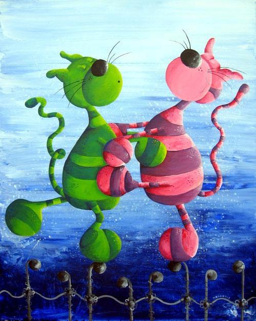 Traumtänzer - Katzenbild - Katze in der Kunst - Cats - tanzende Katzen - Katzencartoon - Katzentango - Schnurrwalzer