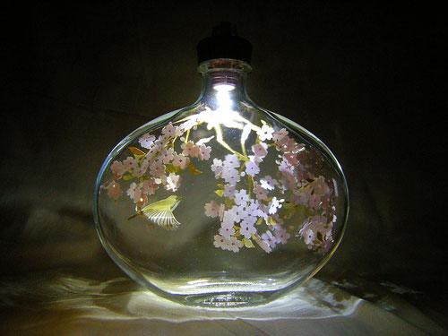 立体切り絵・桜・メジロ・薔薇梅酒