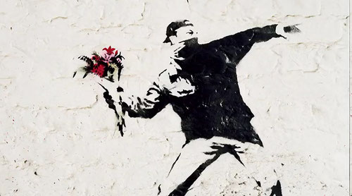 Banksy flower molotov - drawing guerilla