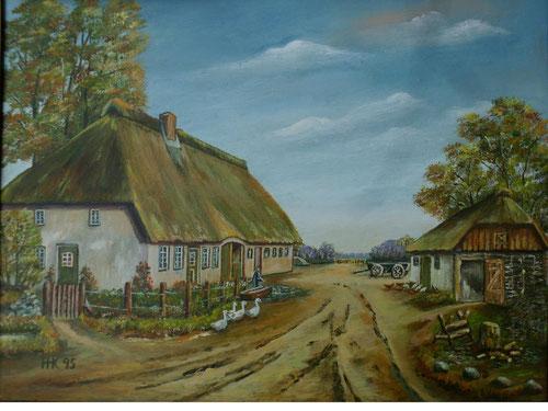 Dieses Bild hat Hans Heinrich Kämmerer aus Schuby 1995 gemalt. Es zeigt das Haus der Familie Kämmerer, wie es seiner Erinnerung nach Ende der 1920iger Jahre ausgesehen hat.