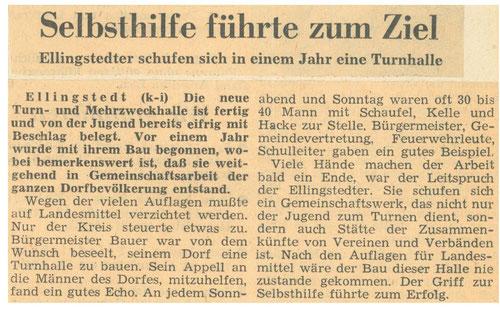 Schleswiger Nachrichten berichten 1966 zum Bau der Mehrzweckhalle