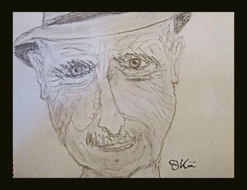 Er meinte, er könne nicht zeichnen, schon gar keine Gesichter oder Augen...- und siehe da!!!  :)