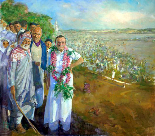 Meher Baba giving a Mass Darshan at Pandhapur, Nov., 1954. Painting by Gregg Rosen.