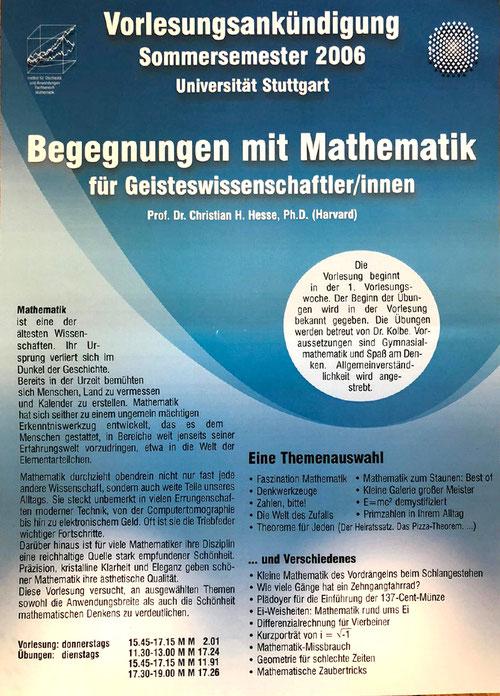 Vorlesung Begnungen mit Mathematik Christian Hesse