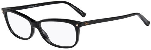 Foto di tre quarti degli occhiali da vista squadrati Christian Dior donna CD3271 807 nero in acetato. Calibro 55-13.