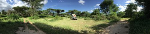 Genau solche einsame Übernachtungsplätze machen es aus. (2016 Lake Manyara NP Tanzania)