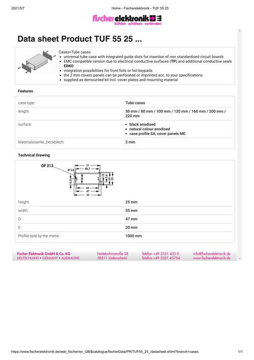 フィッシャーエレクトロニック(Fischer Elektronik) アルミケース チューブタイプ TUF 55  25