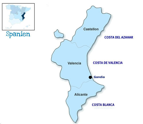 Landkarte: Land Valencia, Comunitat Valenciana mit Castellón, Valencia & Alicante