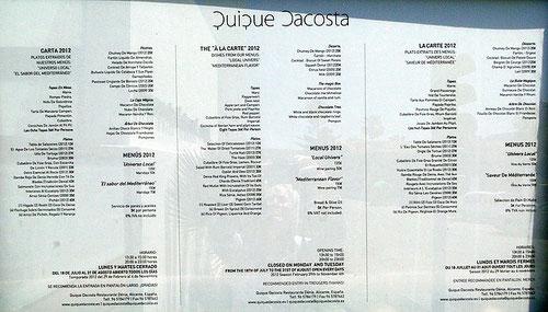 Speisekarte 2012 Testaurante Quique Dacoste, Denia, Alicante, Spanien