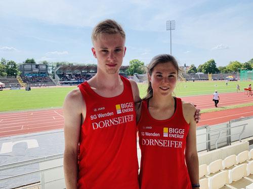 Alexander Lind (PB über 400m) und Johanna Pulte