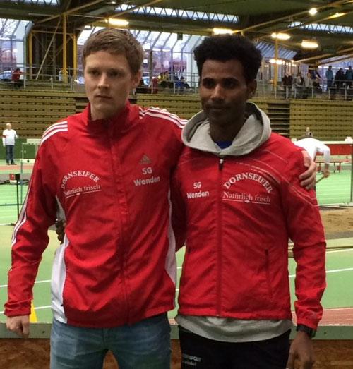Marco Giese und Ejob Solomun (nach spannendem 3000 m Rennen)