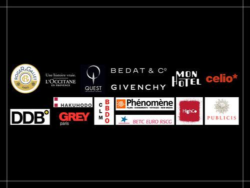 Liste des agences & Clients: Roger Gallet L'Occitane Quest Bedat & Co Givenchy Mon Hotel Celio Lalique ... DDB Paris Grey Paris BETC Euro RSCG HighCo Publicis Phénomène CLM BBDO ...