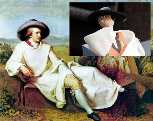 """Goethe en la campagnia"" (Quelle: Wikipedia) und Reisegoethe"