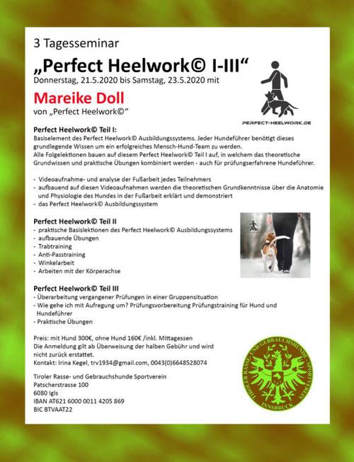 21.5. - 23.5.20 Perfect Heelwork Seminar