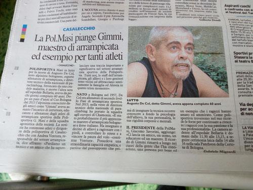 Muore Augusto Gimmi De Col: 8 novembre 2017