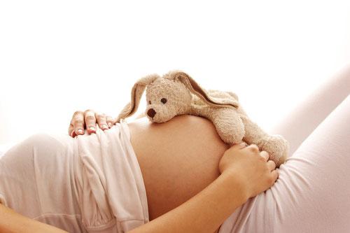 Vendre rond d'une femme enceinte, doudou sur son ventre rond - grossesse