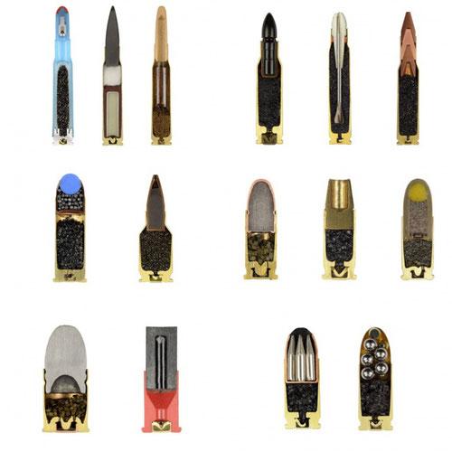 Distintos tipos de balas cortadas por la mitad