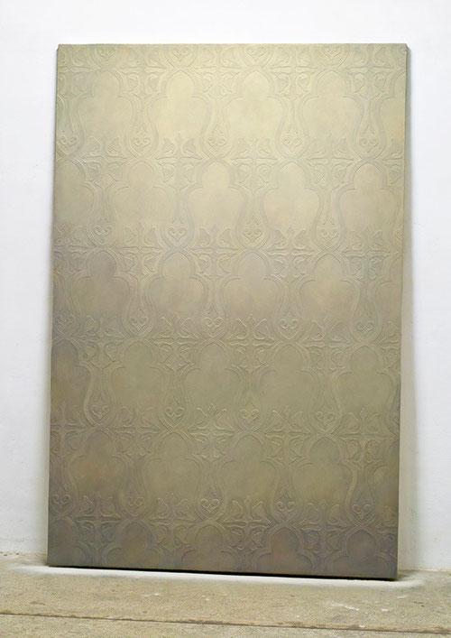Stele (Wandpaneel) 2013 Kunstharz, Steinmehl, Acrylfarbe, Ölfarbe auf Leinwand  210 x 140 cm