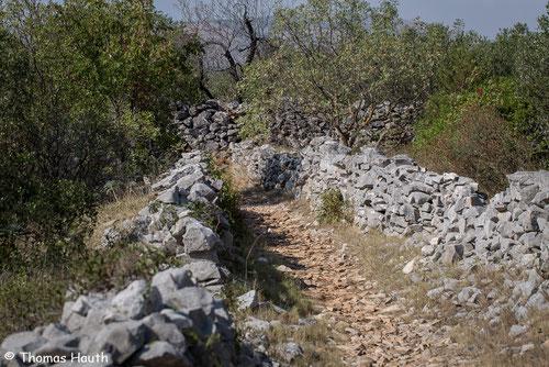 Auf diesem steinigen Weg geht es in das steinige Naturgebiet