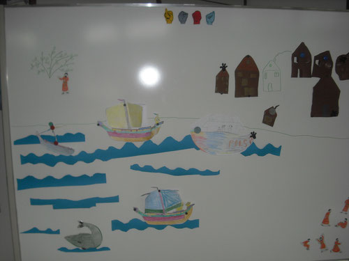 Das Thema Jona bei uns im Reli-Unterricht. (Das Bild anklicken.)