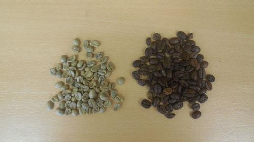 Kaffeebohnen links ungeröstet, rechts geröstet