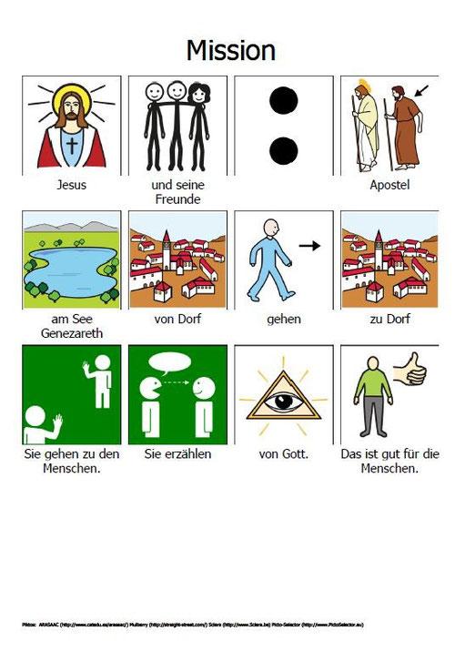 Geht zu allen Menschen und erzählt von Gott. (Piktogramme)