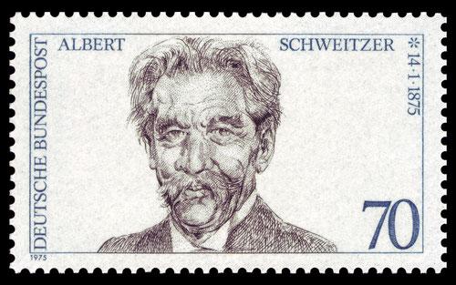 Diese Marke erschien in der BRD zu Albert Schweitzers 100 Geburtstag..