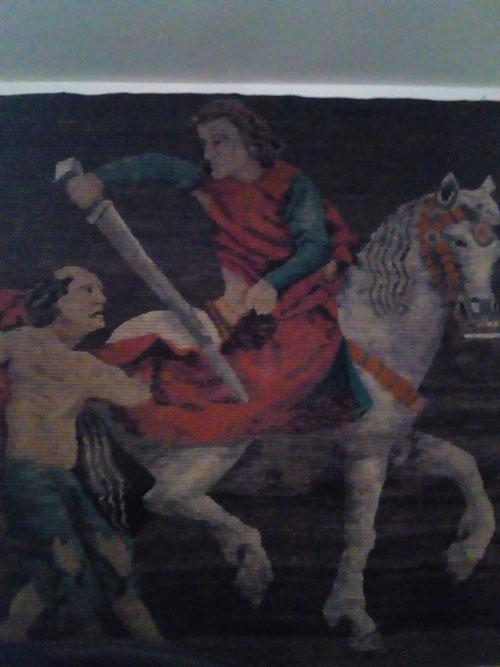 Wandteppich aus Südamerika: St. Martin und der Bettler