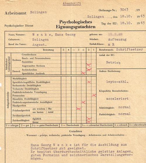 Beruhigens: Bekloppt bin/war ich nicht. Staatlich anerkannte Intelligenz, immerhin.