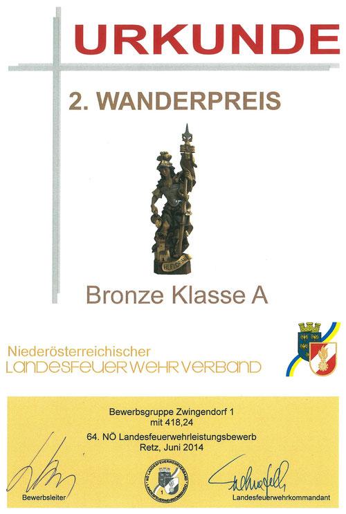 Urkunde 2. Wanderpreis (Hl. Florian), Bronze A