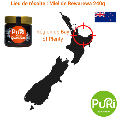 Lieu de récolte Miel de Rewarewa 240g Puri New Zealand Bay of Plenty