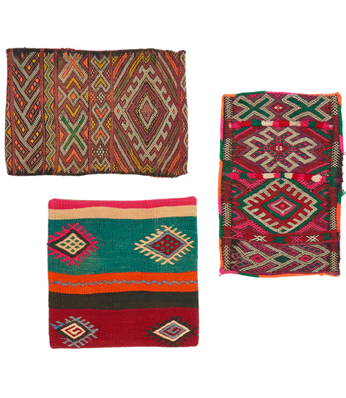 3 cushions kilim, Morocco &Turkey, 3 vintage Kissen, 3 coussins vintage Maroc et Turquie, design tribal, onlineshop Zürich