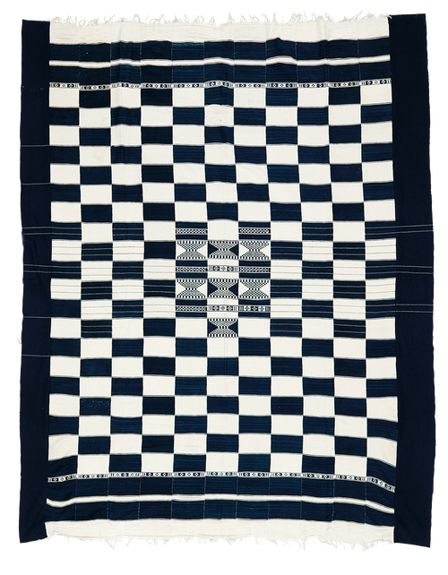 Vintage african indigo blanket, Banama or Fulani weaver from Mali.