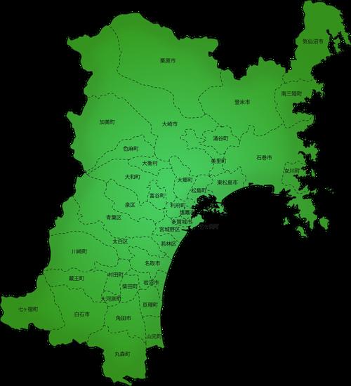 宮城県の市町村地図