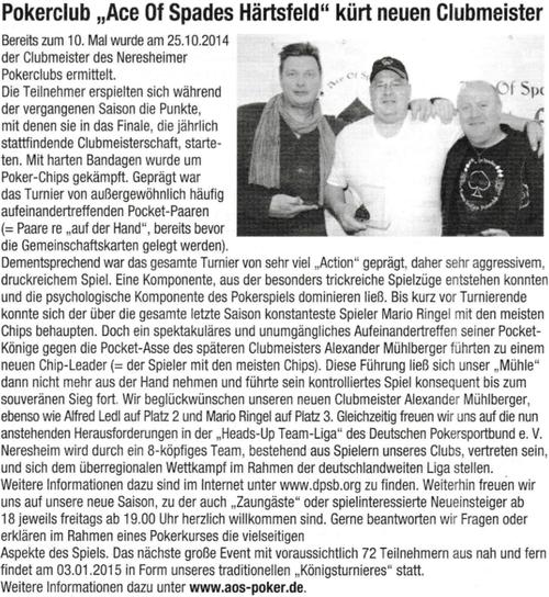 Neresheimer Nachrichtenblatt vom 30.10.2014