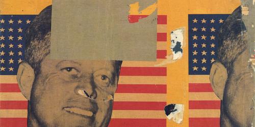 Mimmo Rotela,Viva América,1963.Decollage sobre lienzo.85x89cm.Milán.Col privada.