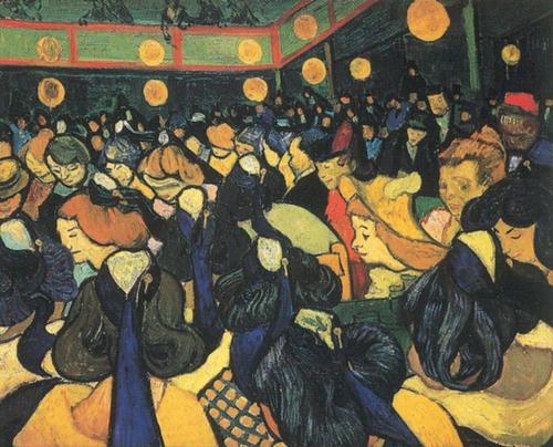 Vincent Van Gogh. La salle de dance.65x85cm.Influencia de Gauguin,aplica los principios sintetistas.Transmite sensación angustiosa del espacio.Amarillos de pinceladas gruesas y rostros lívidos,linda con la caricatura.