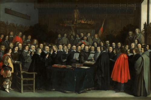 Como fotógrafo de prensa Gerard ter Borch, que entró a trabajar al servicio del Conde de Peñaranda, encabezando la delegación española que ratificó la paz de Westfalia o la ratificación del Tratado de Münster, incluye cerca de 80 participantes y testigos