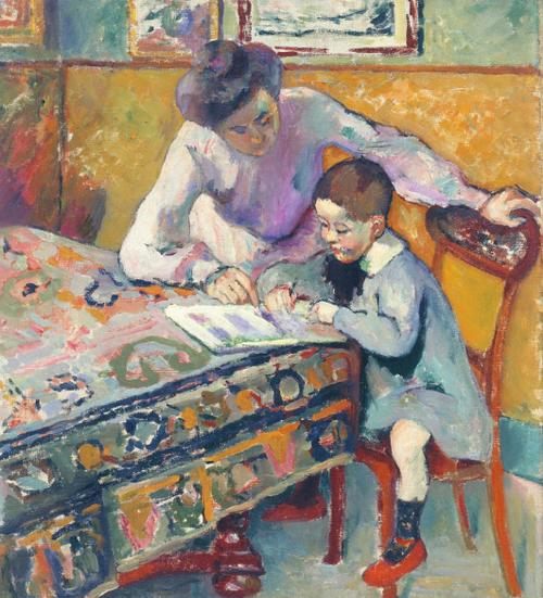 H.Manguin. Jeanne Manguin y su hijo Claude.La lectura.Colección particular. Un nuevo concepto de luz:la negación de la sombra, todo un mundo de claridad y luminosidad..