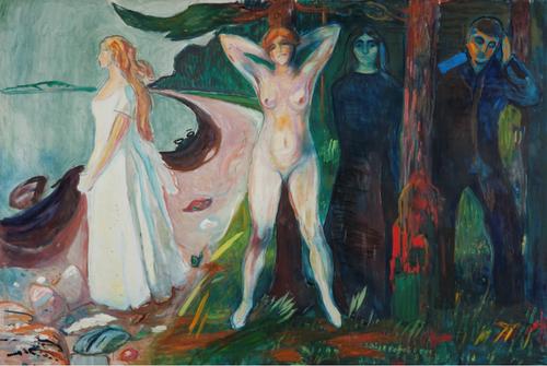 Mujer,1925.Con una iluminación de izquierda a derecha,expresa plasticamente las tres edades de la mujer, como soñadora vestida de blanco y pura, mujer amante de la vida aparece desnuda delante del árbol de la vida, o una tercera afligida en la oscuridad..