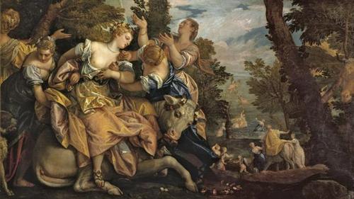 Paolo Veronés.El rapto de Europa,1574.Óleo sobre lienzo.235x296cm. Palazzo Ducale Venecia. Una de sus obras más célebres y admiradas.La provocativa Europa,seductora y sensual sino una fábula  que ejerció una influencia en la iconografía clásicde Ovidio.