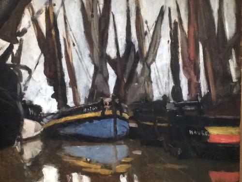 Claude Monet. Barcas de pesca,Honfleur 1886.Óleo sobre lienzo,46x55cm.Colección privada.