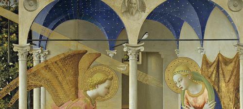 El Beato Angélico, único pintor beatificado en el Museo del Prado, la pintura, era como un acto de devoción.Cada pincelada es un detalle para contemplar el misterio de Dios.Perspectiva euclidiana.