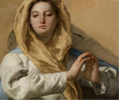 Detalle de la Inmaculada de Tiépolo.Una de sus obras maestras,forma parte de uno de los 7 lienzos que le encarga Carlos III en 1762 para en Convento San Pascual de Aranjuez.Contenida serenidad,con todos sus atributos marianos,paleta nacarada,infl.Veronés.