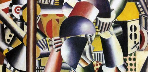 Detalle de Fernand Léger(1881-1955).Los acróbatas en el circo.1918. Cubista con inicios impresionistas, emprendió una obra personalísima y hermanó el arte con las máquinas y el futurismo..Plasma la sujeción y la estrechez del cuerpo en el espacio.