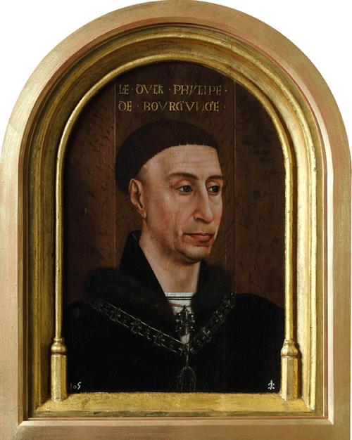 Felipe el Bueno, Taller Rogier van der Weyden,1460.Óleo sobre tabla de roble,51x36cm, marco original tallado en la misma pieza que el soporte, a la izquierda desciende un insecto parecido a la cochinilla que no se ha averiguado el significado. Patrimonio.