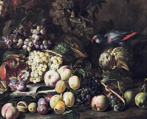 Abraham Brueghel.Naturaleza muerta con fruta y ave exótica.1670Óleo sobre lienzo.70x84cm.Colección privada en Delft. Este género plasma un culto a lo insolito, exótico y valioso para el gusto de las clase de burguesís creciente.